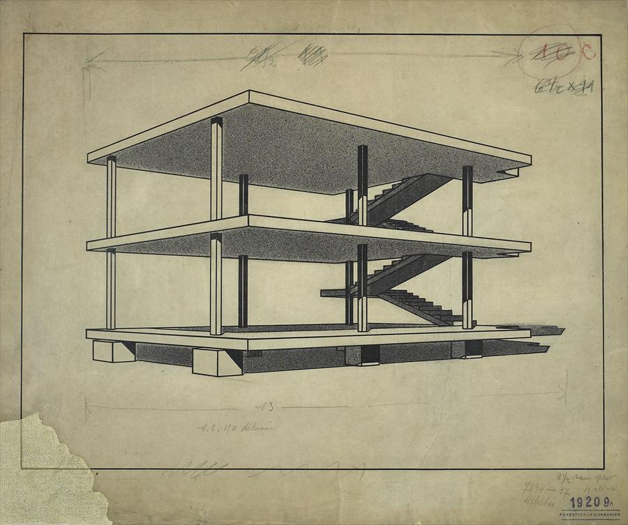 Le Corbusier, Dom-Ino House), drawing